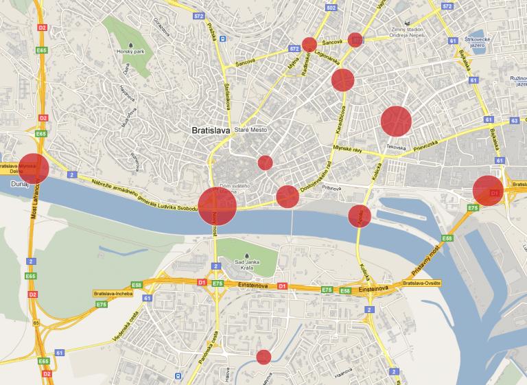 Heatmapa sčítacích bodov podľa počtu cyklistov