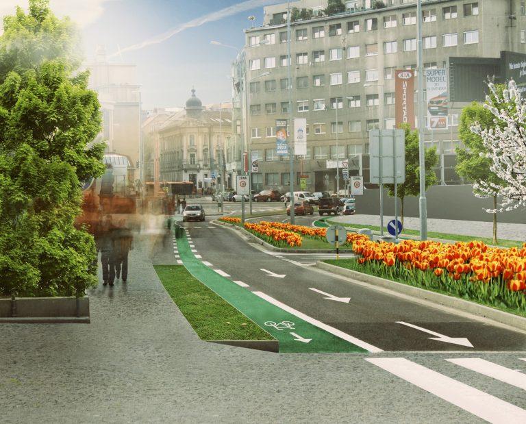 Pribinova - návrh Cyklokoalície s chodníkom a cyklopruhom