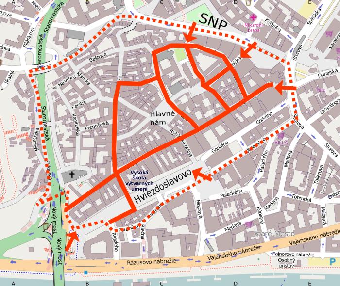 Pešia zóna na bicykli - mapa (Bratislava - Staré mesto)