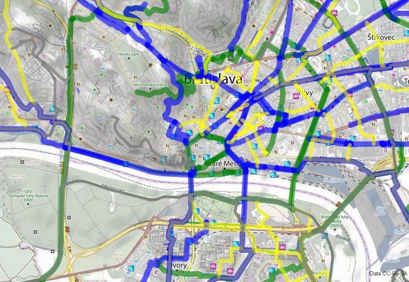 Mapa odporúčaných cyklotrás (ukážka, tlačená verzia vyzerá inak)