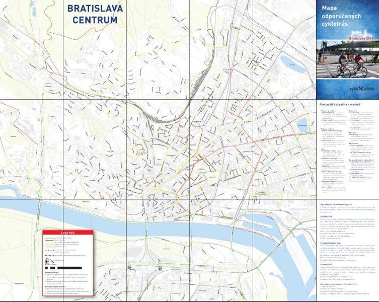 Mapa odporúčaných cyklotrás - centrum