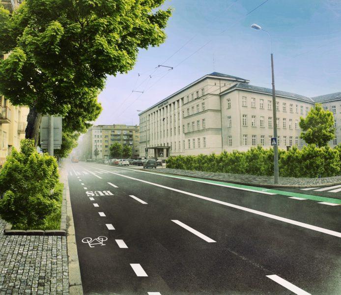 Vizualizácia možného vzhľadu Záhradníckej ulice s cyklopruhmi. Autor: intony