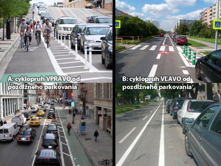 Cyklopruh (A) vpravo alebo (B) vľavo od pozdĺžneho parkovania?