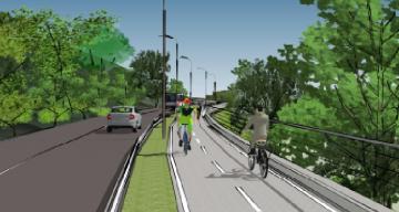 Vizualizácia cyklotrasy na Devínskej ceste podľa štúdie Dopravoprojektu.
