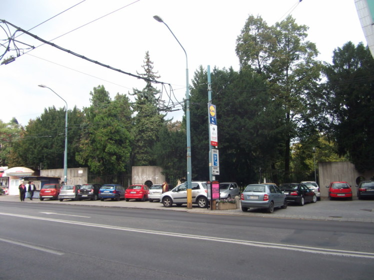 Podľa fotografie to vyzerá na dve parkoviská, oddelené kvetináčmi. Podľa značiek však ide o zónu, kde je parkovanie zakázané mimo vyznačených miest (teda len dve autá vpravo parkujú legálne). Peší ťah popri ceste je prerušený dvoma radmi parkujúcich vozidiel.