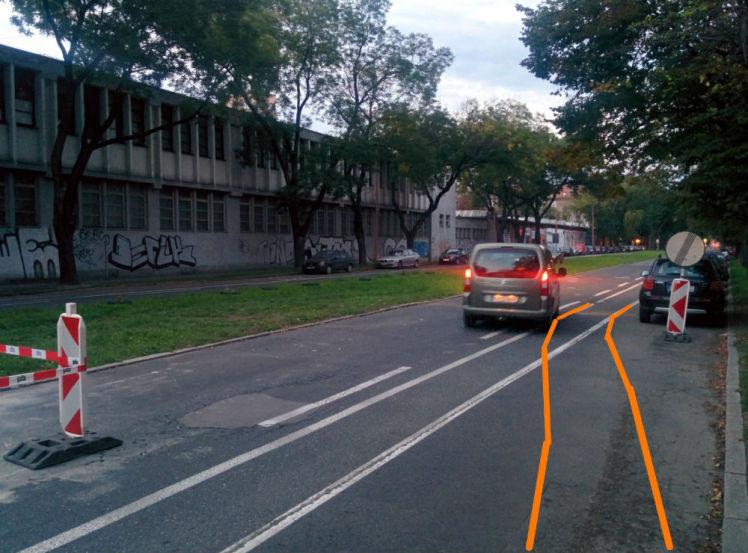 Návrh riešenia 2: Vyznačenie cyklopruhu oranžovou páskou a plynulé napojenie na cyklopruh na konci pracovného miesta.