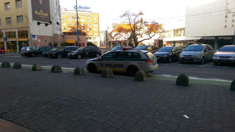 Príslušníci PZ SR stoja v cyklopruhu.