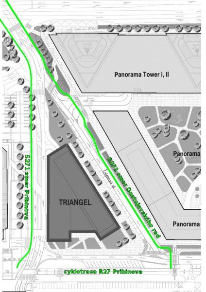 Náčrt južnej časti navrhovanej vedľajšej cyklotrasy S271 po Čulenovej ulici medzi novou budovou SND a Panorama City.