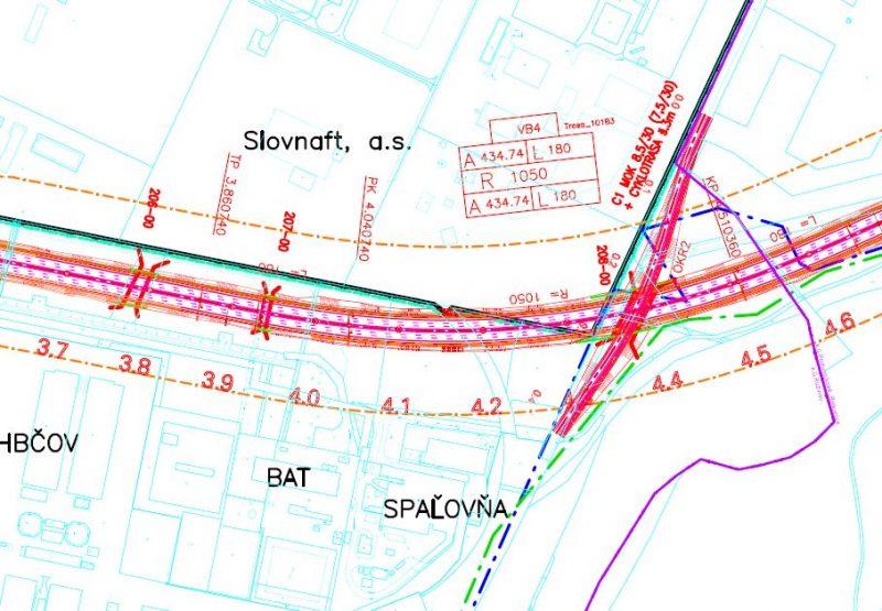 Juhozápadný okrej areálu Slovnaft susediaci s R7, ktorú nadjazdom preklenie cesta a časť cyklotrasy R57