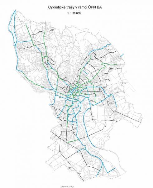 Vízia CykloBratislava2018 - modré sú existujúce cyklotrasy, zelené by ste mali vybudovať do konca roku 2018 a čierne až po roku 2018