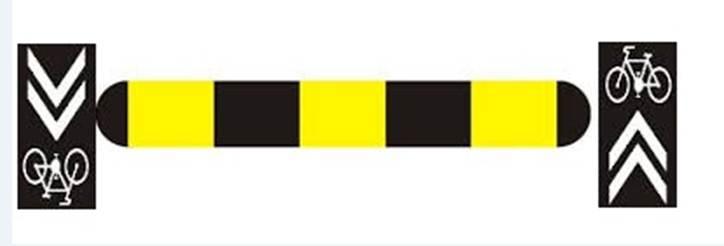 Vzorová schéma umiestnenia koridodu pre cyklistov a spomaľovača.