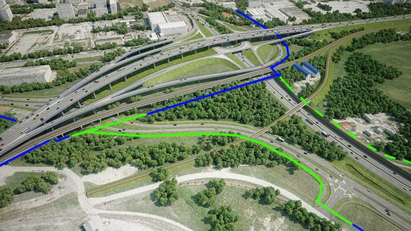 Vizualizácia: Prístavná most križuje rýchlostnú cestu R7. Na obrázku sú vidieť podjazdy pre cyklistov pod predĺženou Prístavnou ulicou, ako aj preložka cyklotrasy od Prístavného mosta smerom na Vrakuňu (modré - existujúce, zelené - nové cyklotrasy)