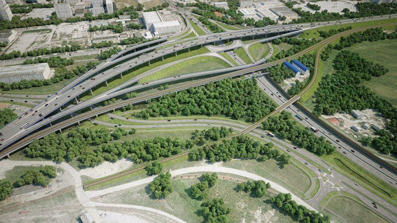 Vizualizácia: Prístavná most križuje rýchlostnú cestu R7. Na obrázku sú vidieť podjazdy pre cyklistov pod predĺženou Prístavnou ulicou, ako aj preložka cyklotrasy od Prístavného mosta smerom na Vrakuňu