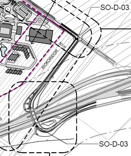 Rozširovaná pôvodná cesta na východnej strane Film Parku Jarovce. Zdroj: EIA