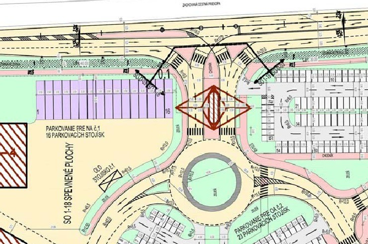Návrh križovatky pri vstupe do Film Parku Jarovce. Rezerva pre cyklocestičku je vyznačená sivou farbou, súbežne s chodníkmi. Zdroj: EIA