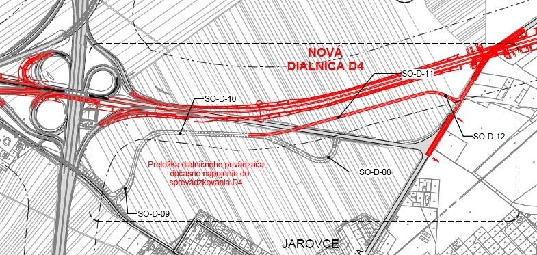 Návrh novej cesty na napojenie Film Parku Jarovce bez potreby prejazdu Jaroviec. Zdroj: EIA