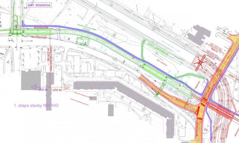 Zdroj: Dokumentácia zisťovacieho konania EIA (ekojet, s. r. o.) Pozn.: červená = nová električková trať, žlté = nové cesty, modré = cyklotrasy