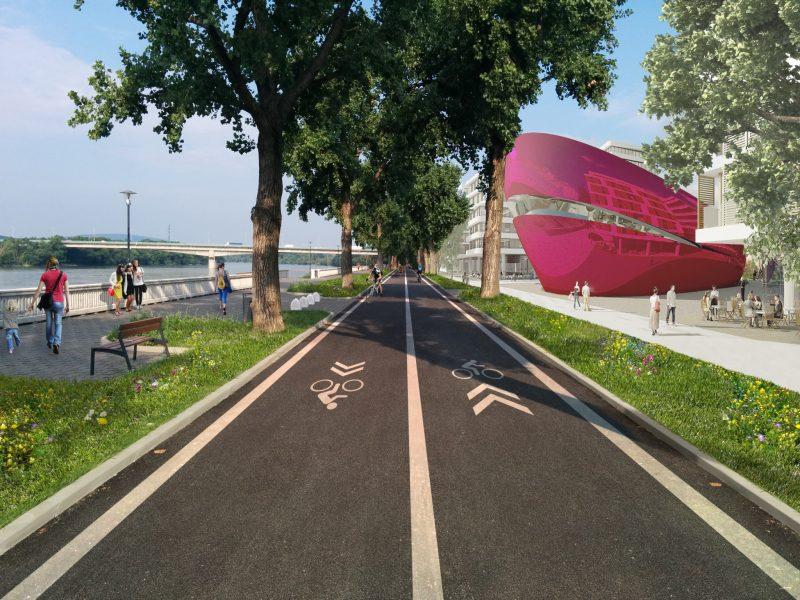 Úsek River Park - Most Lafranconi po dokončení planetária a polyfunkčných budov by mal zostať nezmenený. Developer musí strpeiť komunikáciu na svojom pozemku.