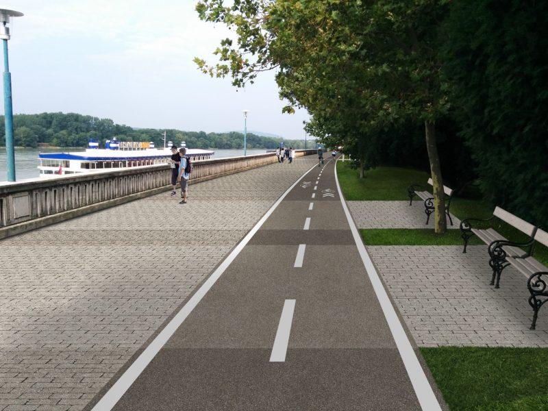 Úsek Most SNP - River Park je dostatočne široký na to, aby tam mohla byť promenáda pre chodcov (4,2 m), cyklotrasa (2,5 m) a pri odsunutí lavičiek o meter dozadu vzniknú aj relax zóny.