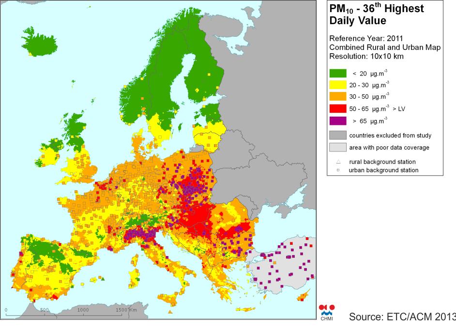 Znečistenie PM10 v krajínach EU, Zdroj ETC/AEM2013