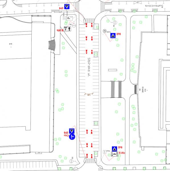 Návrh dopravného značenia - koridor pre cyklistov len na začiatku a konci každého bloku