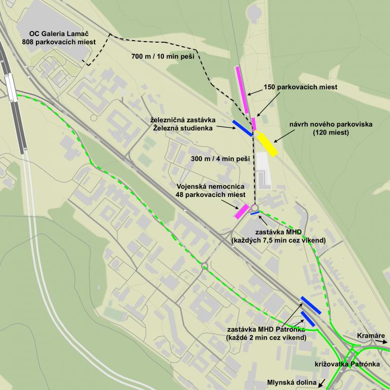 Schéma lokality Patrónka - Železná studienka