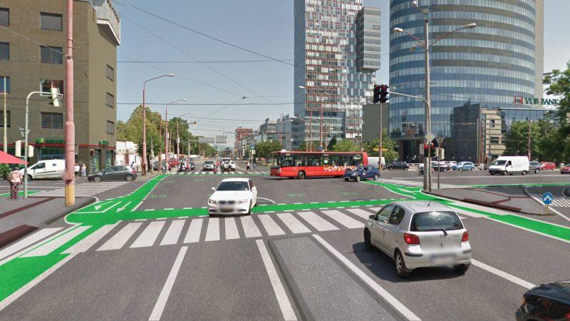 Vizualizácia: Cykloinfraštruktúra v križovatke Karadžičova-Dunajská/Mlynské nivy (návrh Cyklokoalície, ktorý Magistrát i developer odmietli)