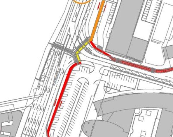 Mapa: obrázok z materiálu spracovaného developerom o možnostiach vedenia cyklistov v území. Cyklisti sa nemajú ako dostať z Karadžičovej či Páričkovej do centra (zvislo Karadžičova ulica, kolmo na ňu Páričkova ulica, dole budova VÚB)