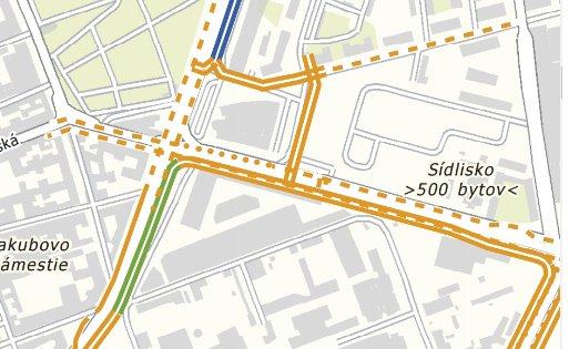 Mapa: Územným generelom dopravy určené riešenie, ktoré ako magistrát, tak developer nerešpektuje. (vyznačené cyklotrasy)