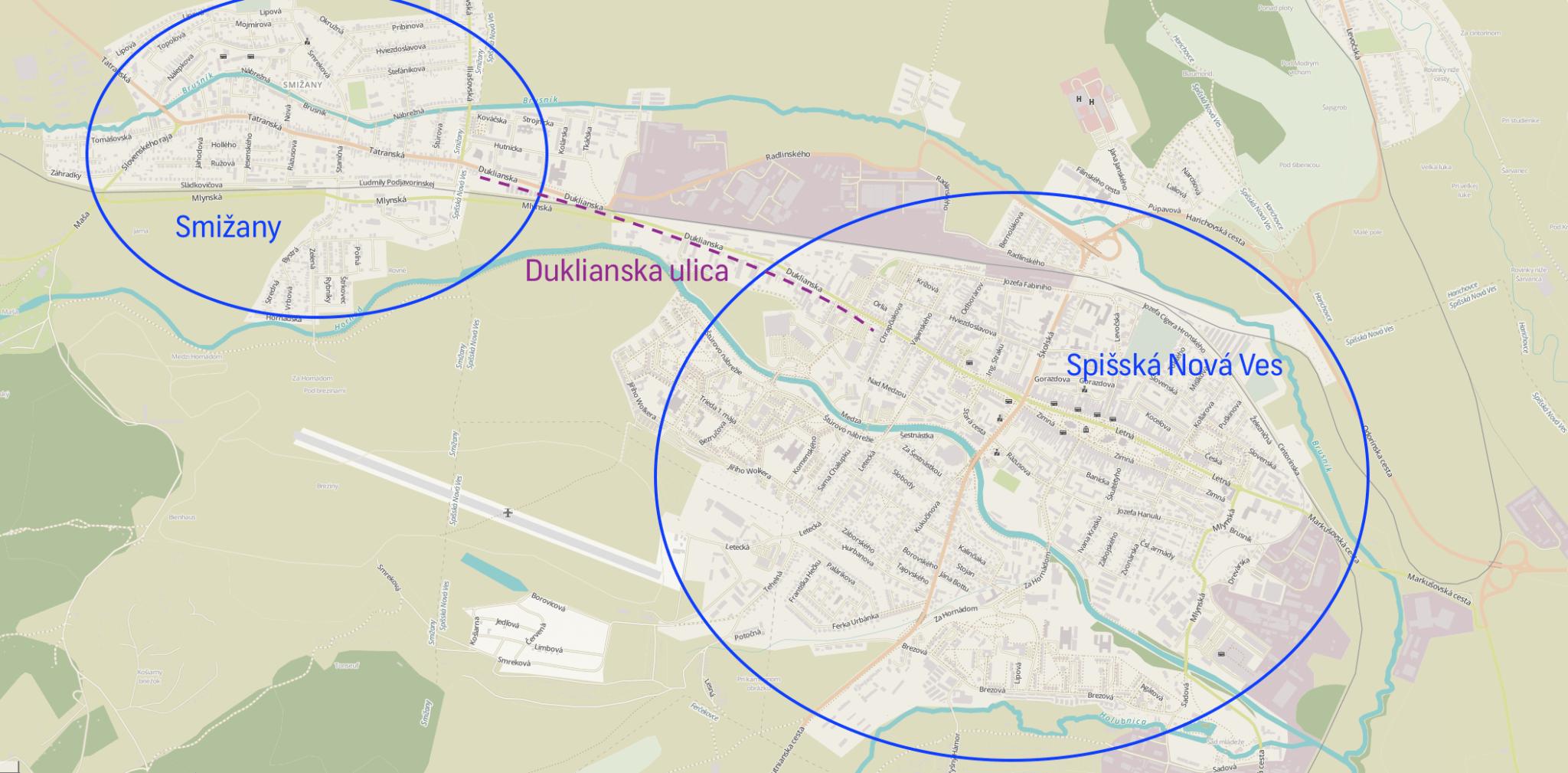 Poloha mesta Spišská Nová Ves a obce Smižany
