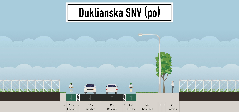 StreetMix: Duklianska ulica (návrh Cyklokoalície)