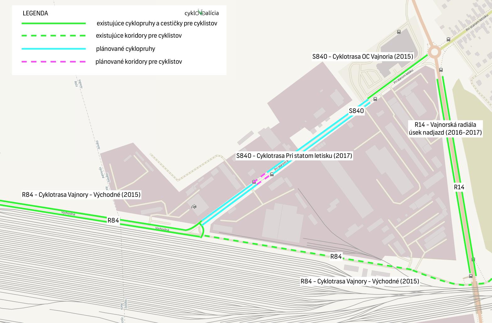 Mapa cyklotrás v okolí starého vajnorského letiska