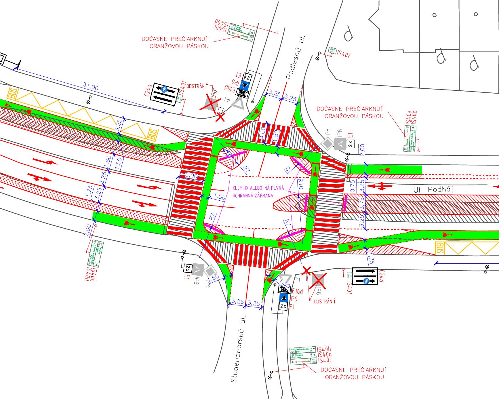 Návrh cyklotrasy na ulici Podháj