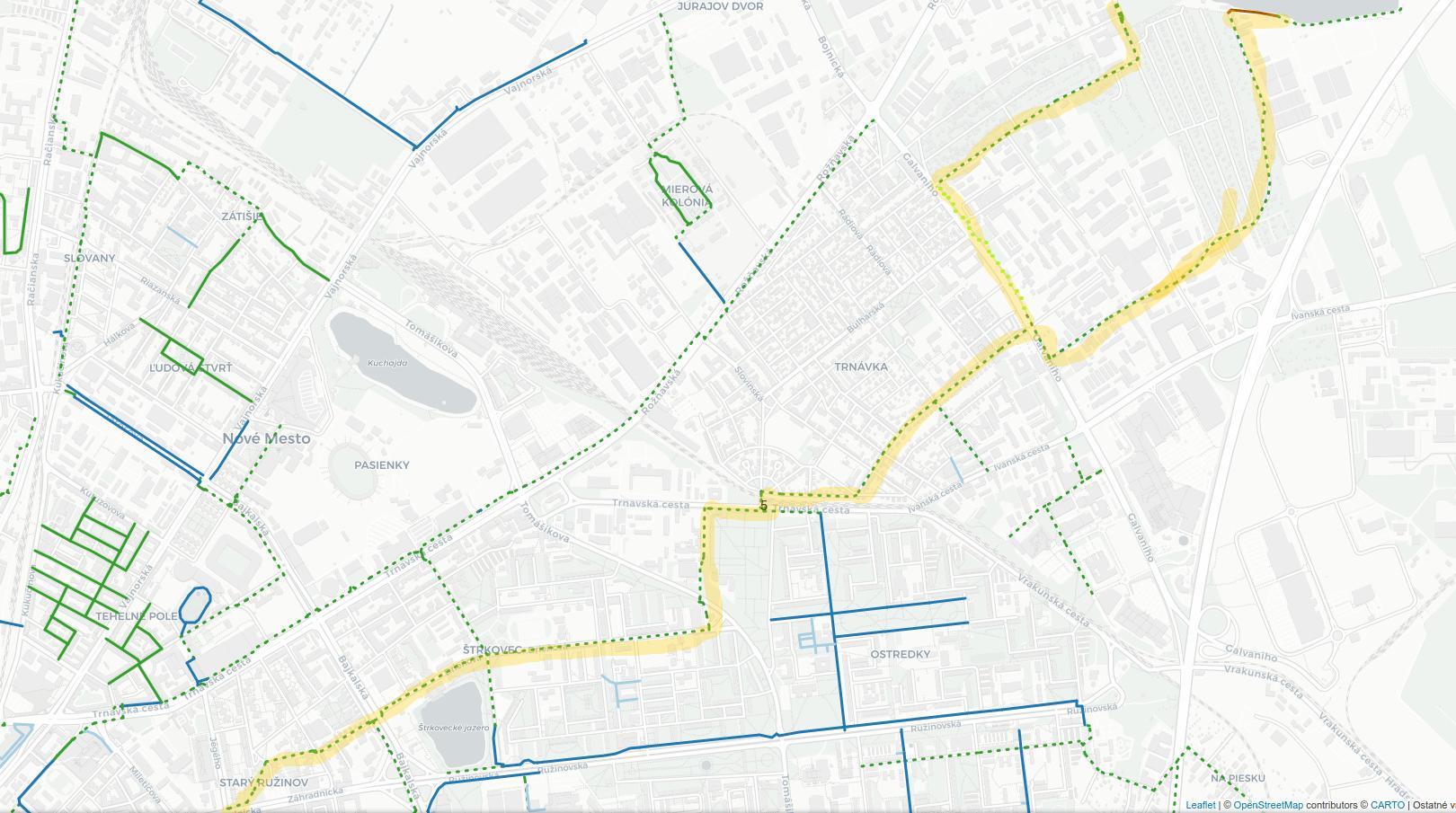 Odporúčaná trasa - bicyklom na Zlaté Piesky