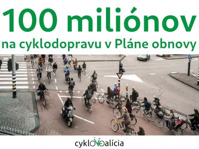 Cyklokoalícia víta 100 miliónov v Pláne obnovy, no žiada jasnú stratégiu podpory