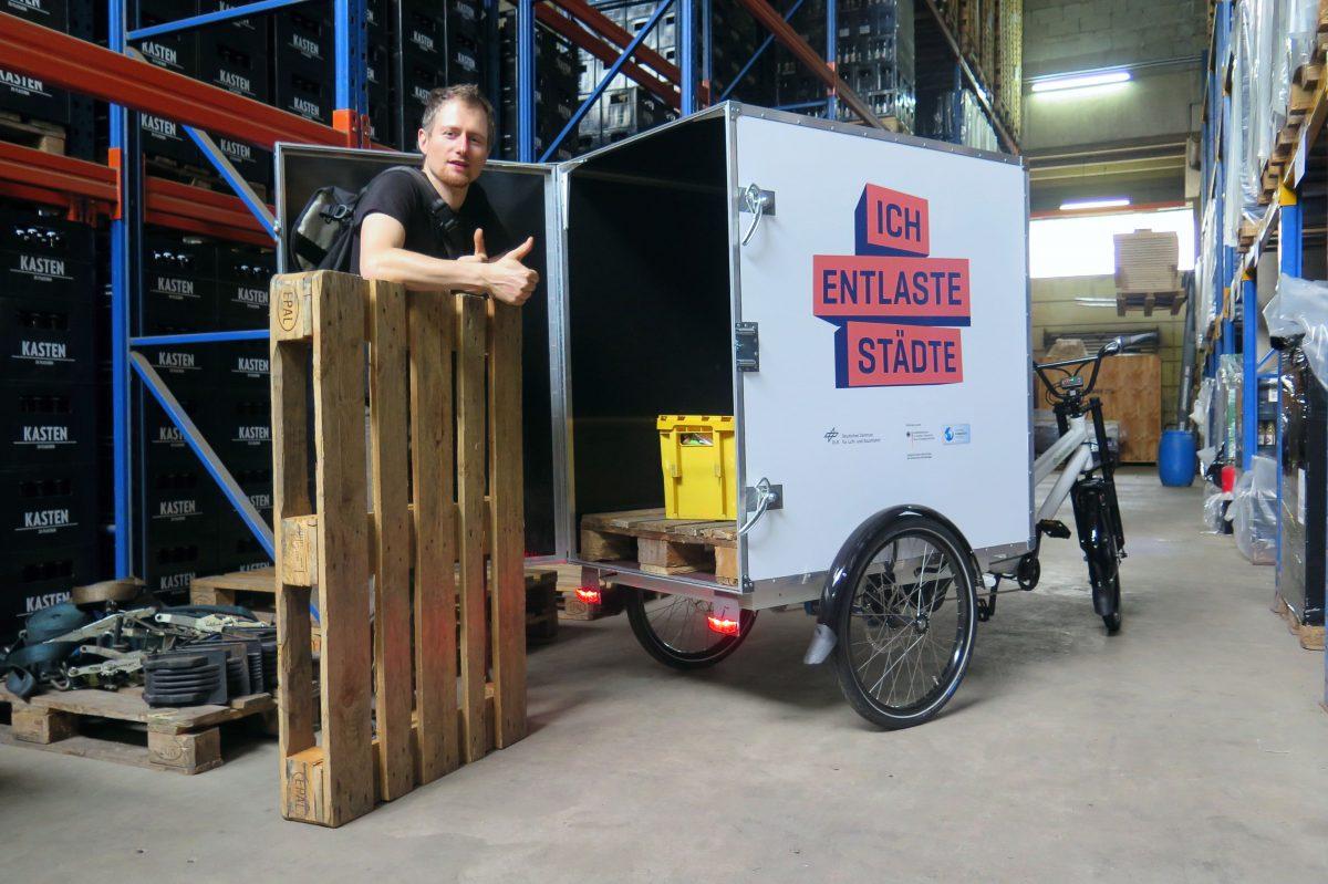 Ukážka naloženej palety, príklad z Berlína - projekt Little Big Cargo